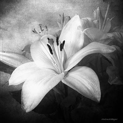Black And White Lilies For Linda Art Print by Melissa Bittinger