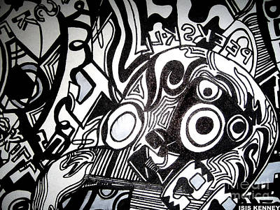 Black And White Line Drawing Art Print by Isis Kenney