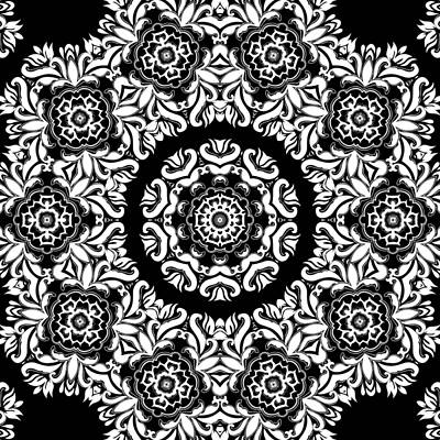Black And White Medallion 10 Art Print