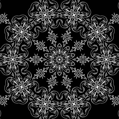 Black And White Medallion 11 Art Print