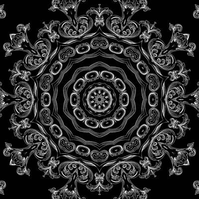 Repetition Mixed Media - Black And White Medallion 2 by Angelina Vick