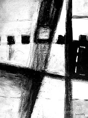 Negro Drawing - Black And White Minimal Abstract by Laura  Gomez