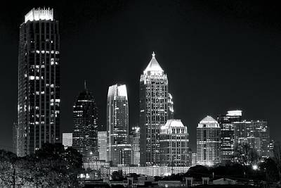 Photograph - Black And White Night In Atlanta by Frozen in Time Fine Art Photography