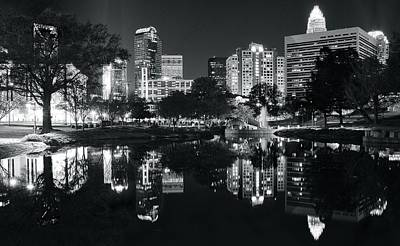 Photograph - Black And White Night In Charlotte by Frozen in Time Fine Art Photography