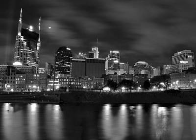 Black And White Night In Nashville Art Print by Frozen in Time Fine Art Photography