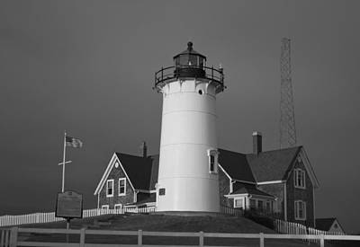 Photograph - Black And White Nobska Point Lighthouse by Amazing Jules