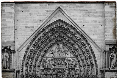 Photograph - Black And White Notre Dame Architecture by Georgia Fowler