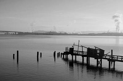 Photograph - Black And White Oakland Bay by Deprise Brescia