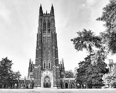 Black And White Of Duke Chapel Print by Emily Kay