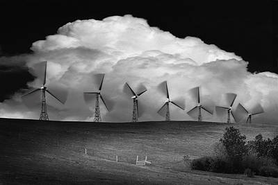 Black And White Of Wind Generators With Print by Don Hammond