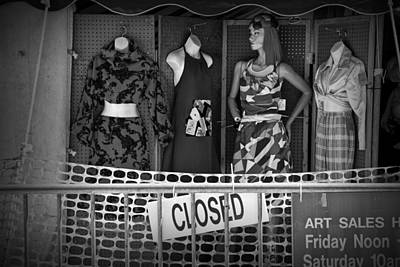 Photograph - Black And White Outdoor Clothing Display by Randall Nyhof