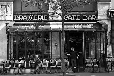 Pause Photograph - Black And White Paris Cafe Bar by Georgia Fowler