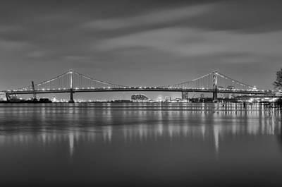 Black And White Philadelphia - Benjamin Franklin Bridge Art Print by Bill Cannon