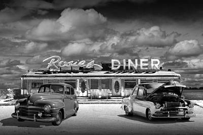 Photograph - Black And White Photo Of Historic Rosie's Diner With Vintage Automobiles by Randall Nyhof