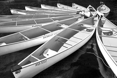 Black And White Photograph Of A Group Of Canoes Tethered Together In A Circle Art Print