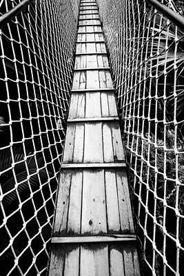 Photograph - Black And White Photograph Of A Suspension Bridge  by Falko Follert