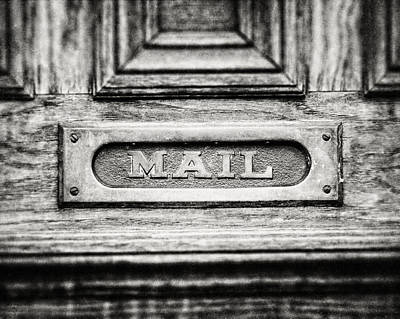 Black And White Photograph Of Vintage Mail Slot Print by Lisa Russo