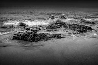 Photograph - Black And White Photograph Of Waves Crashing On The Shore At Sand Beach by Randall Nyhof