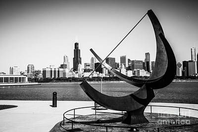 Black And White Picture Of Adler Planetarium Sundial Art Print