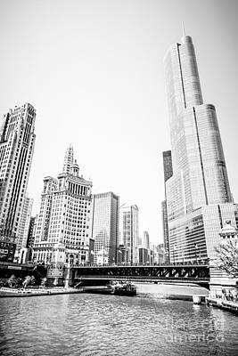 Black And White Picture Of Chicago River Architecture Art Print by Paul Velgos