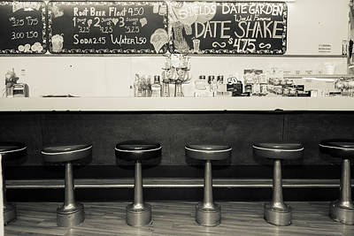 Bar Stools Photograph - Black And White Picture Of Diner by Julien Mcroberts