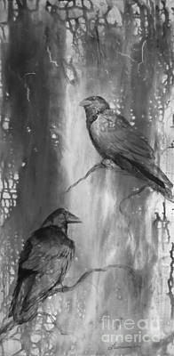 North American Wildlife Painting - Black And White Ravens by Laurianna Taylor