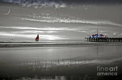 Photograph - Black And White Red Sailboat by David Zanzinger