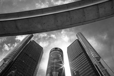 Photograph - Black And White Renaissance Center And People Mover by John McGraw