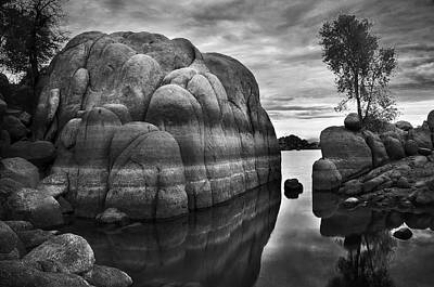 Watson Lake Reflections Photograph - Black And White Rocks At Watson Lake Near Prescott Arizona by Dave Dilli