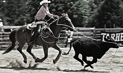 Photograph - Black And White Rodeo by Sheila Kay McIntyre