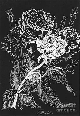 Drawing - Black And White Roses by Terri Maddin-Miller