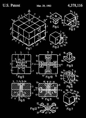 Black And White Rubik's Cube Patent Art Print by Dan Sproul