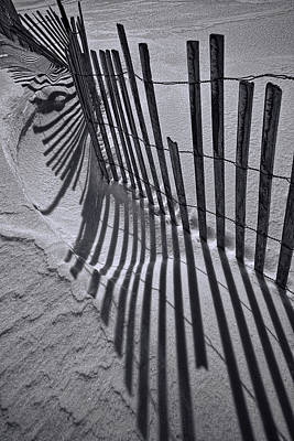 Snow Drifts Photograph - Black And White Sand Fence During Winter On The Beach by Randall Nyhof