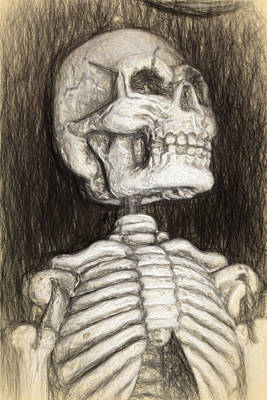 Digital Art - Black And White Skeleton by Terry Cork
