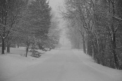 Photograph - Black And White Snow Covered Country Road by Dan Sproul