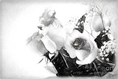 Photograph - Black And White Soft Roses by Sandra Clark