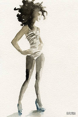 Monochrome Painting - Black And White Stripes 3 Watercolor Fashion Woman Art Print by Beverly Brown