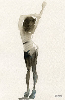Sepia Painting - Black And White Stripes Watercolor Fashion Woman Art Print  by Beverly Brown Prints
