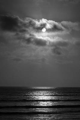 Black And White Sunset At San Onofre Art Print by Richard Cheski
