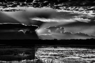 Photograph - Black And White Sunset Over The Mead Wildlife Area by Dale Kauzlaric