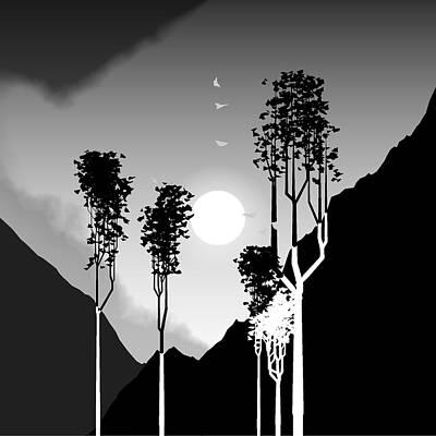 Black And White Trees Print by GuoJun Pan