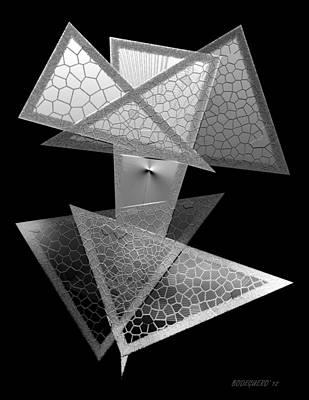 Black And White Triangles Print by Mario Perez