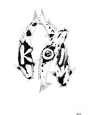 Black And White Trio Of Koi Art Print by Gordon Lavender