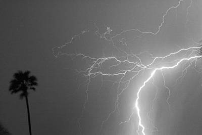 Black And White Tropical Thunderstorm Night  Art Print by James BO  Insogna