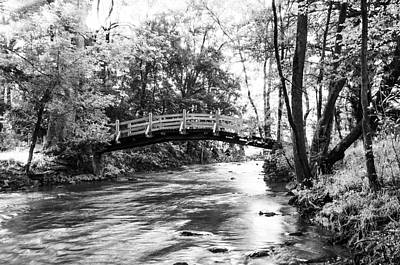 Black And White Valley Forge - Bow Bridge Art Print by Bill Cannon