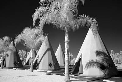 Photograph - Black And White View Of Wigwam Motel In Rialto by Carol M Highsmith