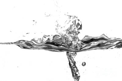 Glass Photograph - Black And White Water Splash by Michal Bednarek