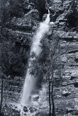 Photograph - Black And White Waterfall by Melany Sarafis