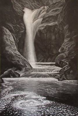 Black And White Waterfall Original