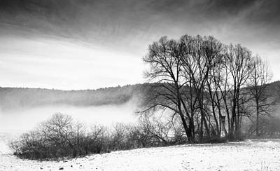 Photograph - Black And White Winter Landscape With Trees by Matthias Hauser